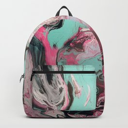Fluid Art Acrylic Painting, Pour 1 - Pink, Black, White, Turquoise Backpack