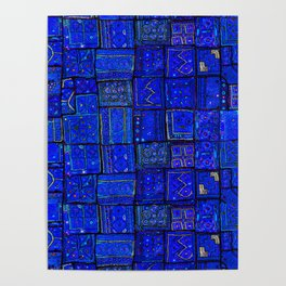 -A2- Lovely Calm Blue Traditional Moroccan Pattern Artwork. Poster
