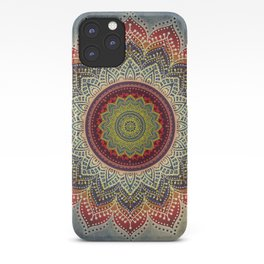 Retro Folk Art - Spirit Lotus Mandala Blue Red iPhone Case