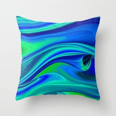 Futuristic, Abstract in blue green and purple 3 Throw Pillow