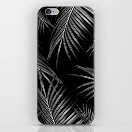 Silver Gray Black Palm Leaves Dream #1 #tropical #decor #art #society6 iPhone Skin