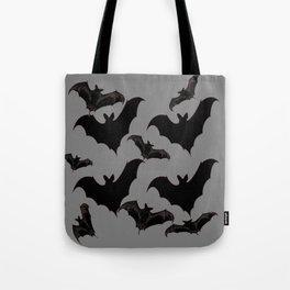 HALLOWEEN BATS ON CHARCOAL GREY WILDLIFE ART Tote Bag