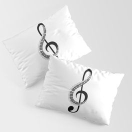 Treble clef sign with piano keyboard Pillow Sham