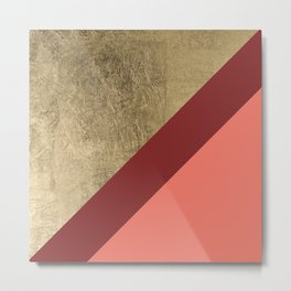 Modern gold foil burgundy peach color block geometric stripes pattern Metal Print