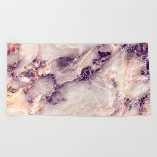 Pink marble texture effect Beach Towel