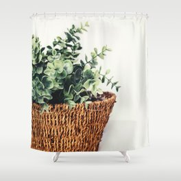 Plant On White Shower Curtain