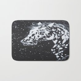 Black and White Spotted Horse Bath Mat