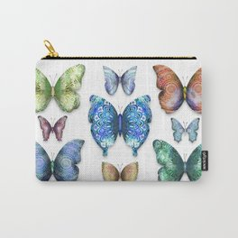 Butterfly Taxidermy // Beautiful Mandala Detailed Wings Design // Lime Green, Bright Blue, Gold Carry-All Pouch