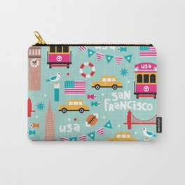San Francisco travel - Retro style illustration pattern Carry-All Pouch