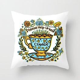 Poison of Choice: Cyanide TeaCup Throw Pillow