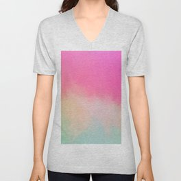 Modern Contemporary Pink Pastel Abstract Unisex V-Neck