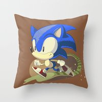 sonic Throw Pillows featuring Sonic by Rod Perich