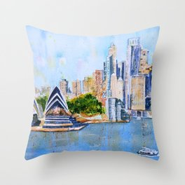 Colorful Sydney Harbor Throw Pillow
