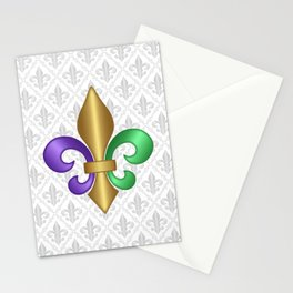 Purple Green and Gold Fleur-de-Lis on Gray Pattern Stationery Cards