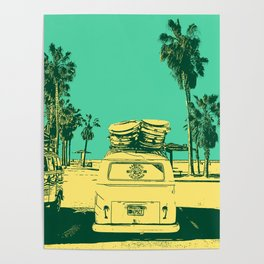 California Surf Bus, Palm Beaches and Getting Rad. USA Road Trip, Travel Dreams. Poster