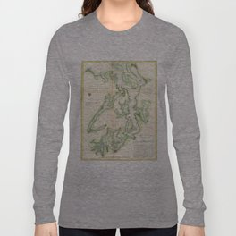Vintage Map of The Puget Sound (1867) Long Sleeve T-shirt