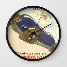 1930 Le Mans French Motor Auto Racing Vintage Poster Wall Clock