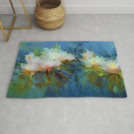 Beautiful Artistic Water Lilies Floral Painting Lake Rug