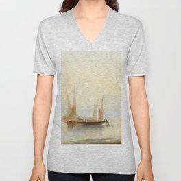 Ivan Aivazovsky - Barge at Sea Shore Unisex V-Neck