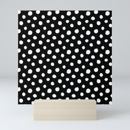 Minimal - white polka dots on black - Mix & Match with Simplicty of life Mini Art Print