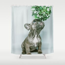 Christmas Pup Under Mistletoe (Color) Shower Curtain