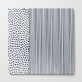 Dots and Stripes Modern Navy and White Metal Print