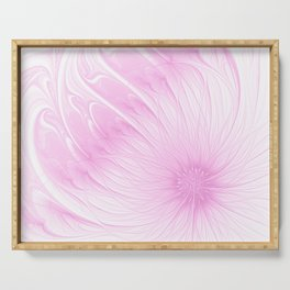 Pink Spring | Flower, abstract digital painting, cute floral pattern, pretty pastel flowers Serving Tray