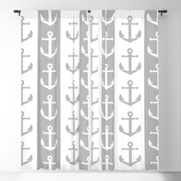 Nautical Sailor Stripes with Anchor Pattern Gray 241 Blackout Curtain