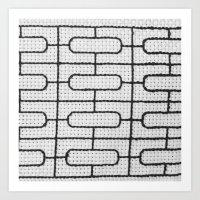 Vintage Window Grille Cross Stitch Pattern #7 Art Print