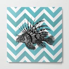 Lionfish Chevron Metal Print