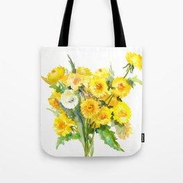 Dandelion Flowers, Herbal, herbs, field flowers, yellow floral design Tote Bag