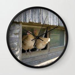 Farm Animal Photography Pair of Chicken Best Friends Buff Orpingtons Wall Clock