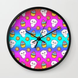 Cute cheerful funny Kawaii pink baby kittens, yummy colorful cupcakes and chocolate chip cookies cartoon bright blue rainbow pattern design. Nursery decor ideas.  Wall Clock