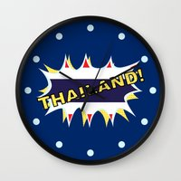 thailand Wall Clocks featuring Thailand by mailboxdisco
