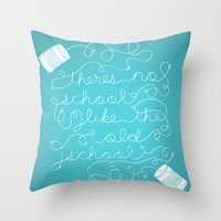old school Throw Pillows featuring Old School by Heather Doyle