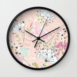 Rose Bouquet ~ Pink Haze Wall Clock