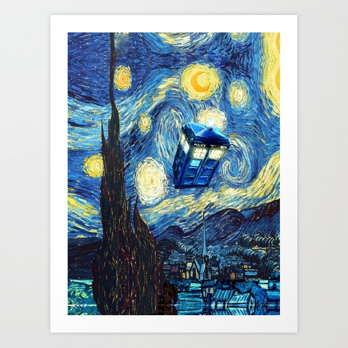 Tardis Doctor Who Starry Night Art Print