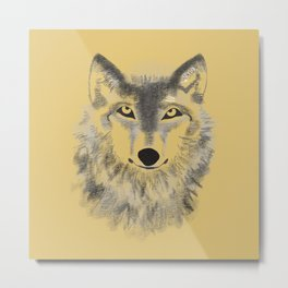 Wolf Face - Gold Metal Print