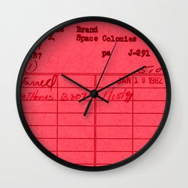Library Card 797 Red Wall Clock