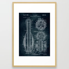 1961 - Composite composition bowling pin patent art Framed Art Print