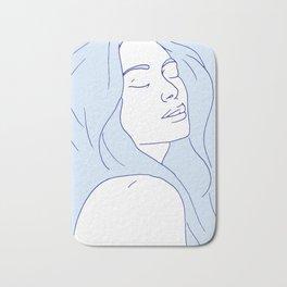 Woman in Reverie Light Blue Bath Mat