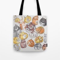 a lot of cats Tote Bags featuring Lot of cats by Billie La Roche