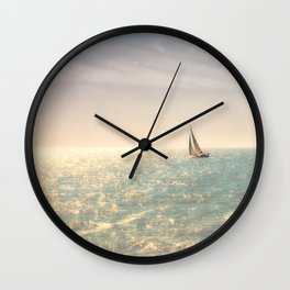 Misty summer day on the sea- a lonely boat Wall Clock