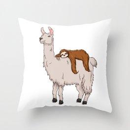 Cute & Funny Sloth Sleeping on Llama Friends Throw Pillow