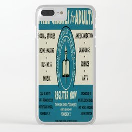 Vintage poster - Adult Education Clear iPhone Case