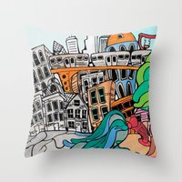 community Throw Pillows featuring Community by sam kirk