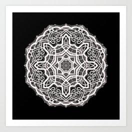 Mandala Project 209 | White Lace on Black Art Print