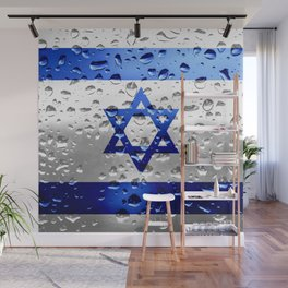Flag of Israel - Raindrops Wall Mural