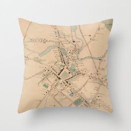 Vintage Map of Morristown NJ (1889) Throw Pillow
