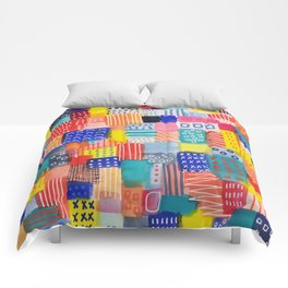 Venice Beach Rainbow Abstract Cityscape Comforters